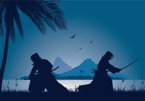 Kendo Silhouette Night Lake Gratis Vector