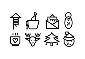 Christmas line icons vector