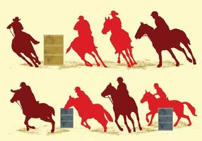 Barrel Racing Silhouette Illustration