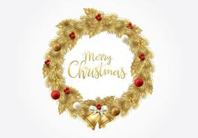Christmas Gold Wreath Vector