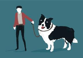 Man with Border Collie Vector Illustration