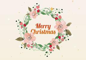 Vecteur de couronne d'aquarelle de Noël gratuit