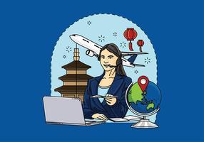 Mujer Servicio al Cliente Vector Libre