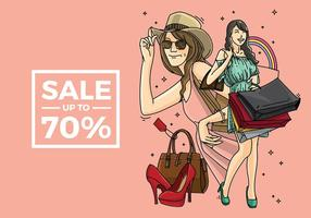 Vetor de shopping mulher livre