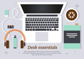 Morning Desk Essentials Vector Illustration