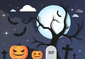 Free Halloween Graveyard Vector Background