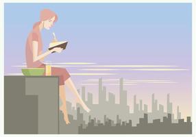 Ein Mädchen liest ein Buch beim Essen Snacks auf der Dachterrasse Vektor