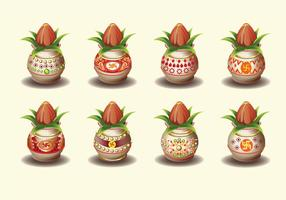 Set Vektor-Illustration von Kalash mit Kokosnuss und Mango Blatt