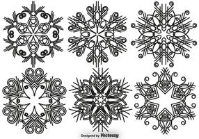 Conjunto elegante de vetores de flocos de neve