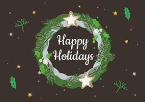 Free Happy Holidays Vector Wreath