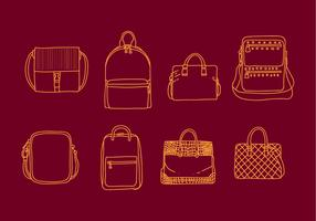 Set of Line Art Bag Illustrations vector