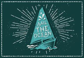 Vintage Sailboat Vector Illustration