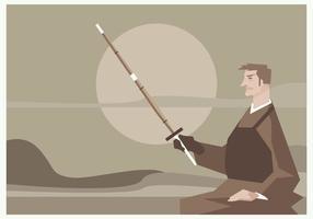 En Man Sitter Med Ett Kendo Sword In Hand Vector