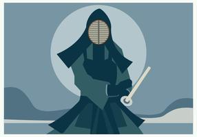 Un hombre con traje de Kendo sosteniendo su espada Kendo Vector