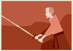 A Boy Practices Kendo Vector