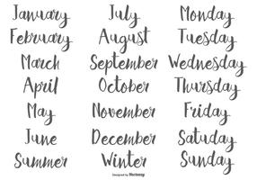 Hand Drawn Calligraphic Months and Days of the Week vector