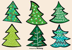 Doodle Christmas Trees Vector Set