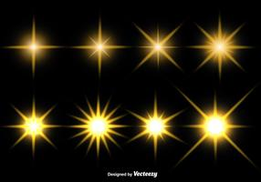 Ensemble d'icônes vectorielles étoiles incandescentes