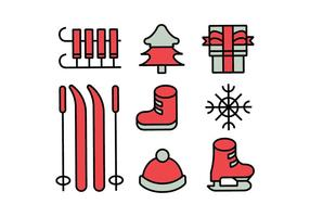 Merry christmas icons set vector