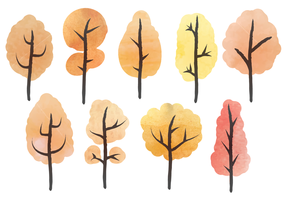 Free Watercolor Trees Vector