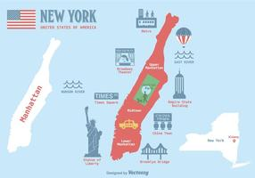 Illustration vectorielle gratuite de la carte de Manhattan
