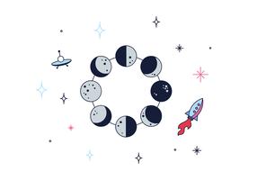 Vector libre de fases de la luna