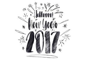Free Hello New Year Watercolor Vector