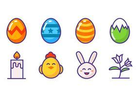 Iconos de Pascua gratis Vector