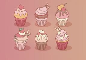 Vector Día de San Valentín Cupcakes