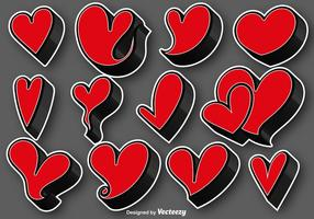 Collection Of 3D Hearts Stickers - Vector