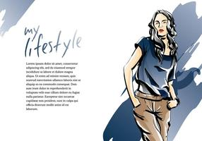 Mujer Fashion Sketch Template Vector