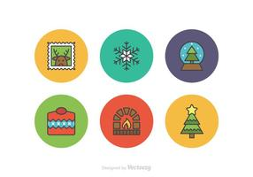 Free Christmas Flatline Vector Icons