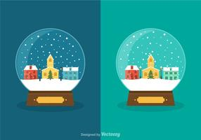 Globes de neige d'hiver de vecteur gratuits