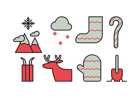 Winter activities icon set