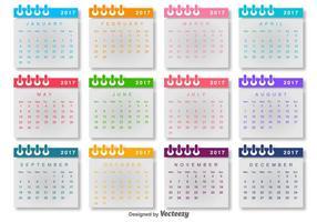 Calendario 2017 Vector Plantilla