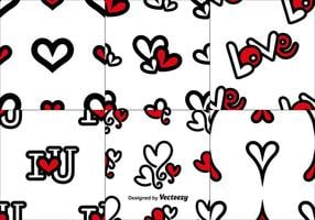 Vector Set Of Love Naadloze Patronen