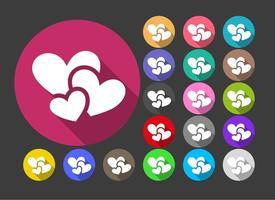 Corações ícones vetor botões coloridos