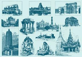 Blauwe India Illustraties
