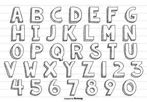 Alfabeto dibujado a mano incompleta linda del vector