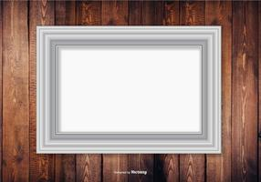 Silver Frame On Wood Wall Background vector