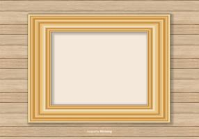 Gold Frame On Wood Wall Background vector