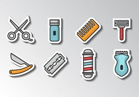 Gratis Barber Icons Sticker Style Vector