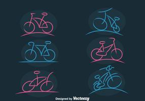 Cykel skiss ikoner vektor