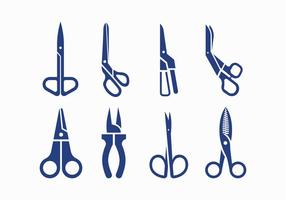 Scissors silhouette icons vector