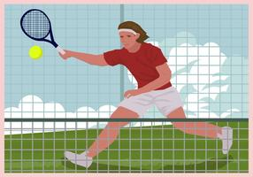 Mann spielt Tennis Illustration
