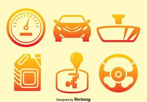 Car Element Gradient Icons Vector