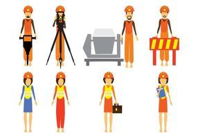 Vector de Personagens de Construção Civil e Engenharia Civil Grátis