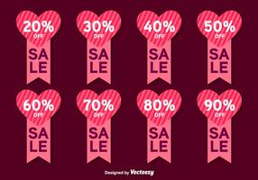 Etiquetas del vector de la venta del día de tarjetas del día de San Valentín