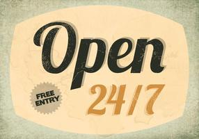 Open 24/7 Restaurant Sign Vector