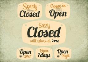 Throwback Closed and Open Signs Vector